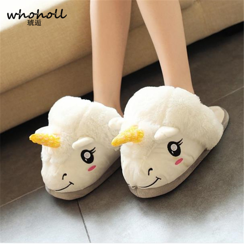WHOHOLL 2017 Winter Indoor Slippers Plush Home women Shoes Unicorn Slippers for Grown Ups Unisex couple Warm Home Slippers Shoes men winter soft slippers plush male home shoes indoor man warm slippers shoes