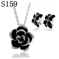 PS159 Wholesale Fine 100 Real Shot 925 Pure Sterling Silver Necklace Earrings Jewelry Set