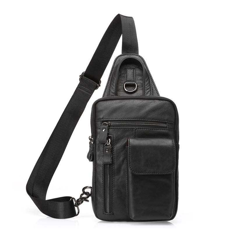 Uniego New Genuine Leather Casual Men Travel Shoulder Bags High Quality Male Messenger Bag Men's Chest Bags Crossbody Bags HB120 diiwii bag new men casual small genuine leather shoulder bags leather messenger crossbody travel bag handbag