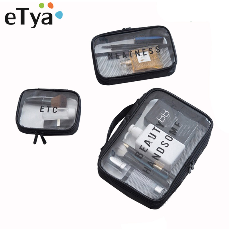 eTya Transparent Cosmetic Bags Neceser Portable Makeup Bag Women Fashion PVC Pouch Travel Organizer Cosmetics Toiletry Bag etya makeup bags canvas women cosmetic bag organizer pouch bag for travel necessary beauty case fashion portable document bags