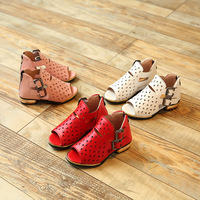 High Quality Nubuck Leather Girl Sandals Cut Outs Children Ventilate Fisherman Princess Shoes Kids Summer Zip