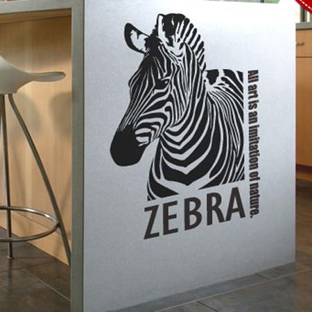 Zebrakopf Wandaufkleber auf dem Eingangsflur Wohnzimmer Sofa - Wohnkultur - Foto 1