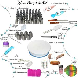 Image 2 - 124PCS/Set Cake Decorating Tools Icing Tips Turntable Pastry Bags Couplers Piping Nozzle Baking Tools Set for Cupcakes Cookies
