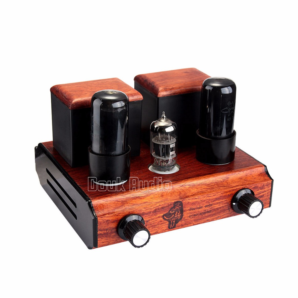 Douk Audio Pure Handmade Mini 6N4+6P6P Vacuum Tube Integrated Amplifier Stereo Class A Power Amp Hi-Fi douk audio integrated vacuum tube amplifier class a hifi power amp usb dac lossless decoder 110v 240v