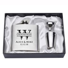 6 Sets Personalized Engraved 6oz Silver Hip Flask Set Stainless Steel Groomsman Wedding Party Gift Favors Logo