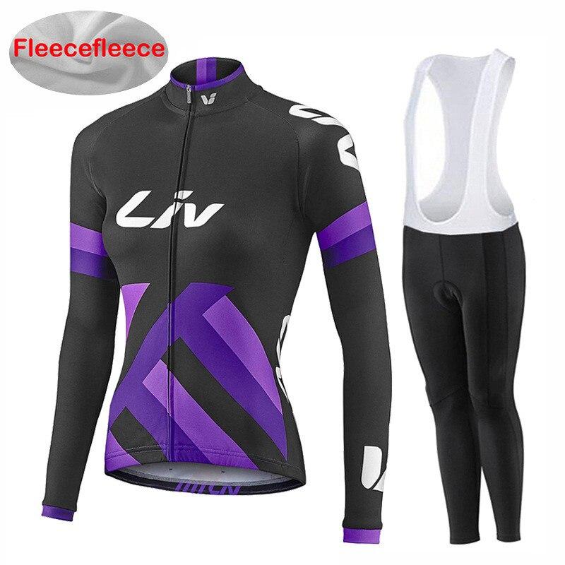 UCI 2018 pro team women's winter thermal fleece Cycling jersey bib pants set ropa ciclismo invierno long sleeve bike jersey kit