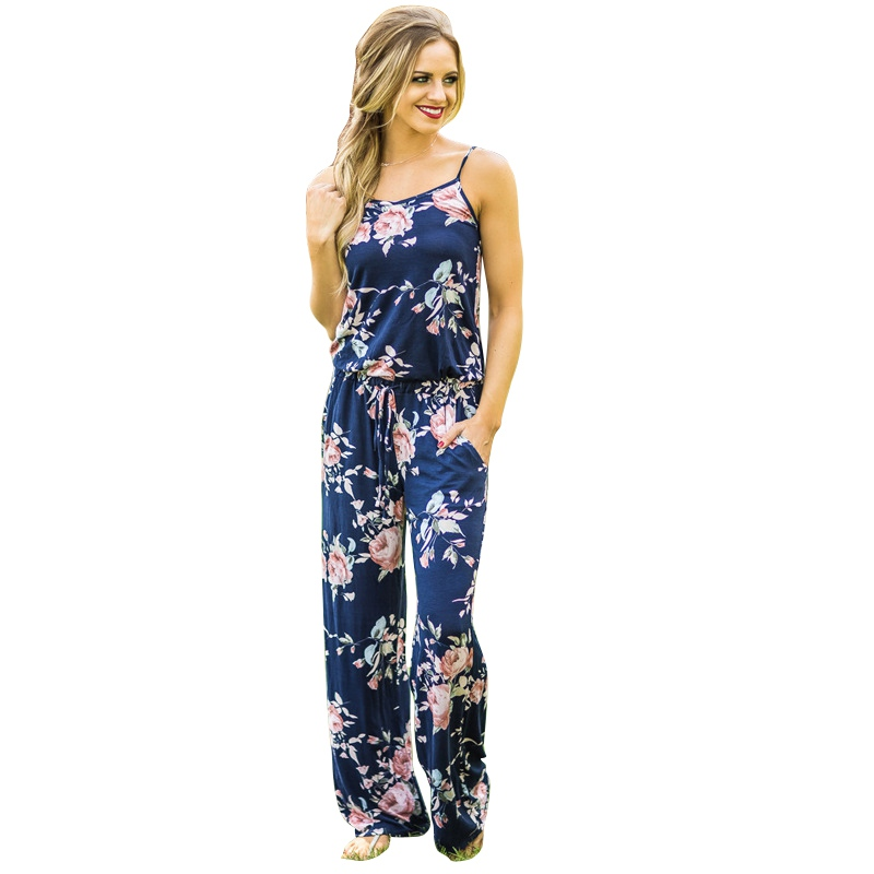 Fashion Sexy Women Sleeveless Floral Print Jumpsuit Ladies Female Rompers One-Piece Cloth Playsuit For Women