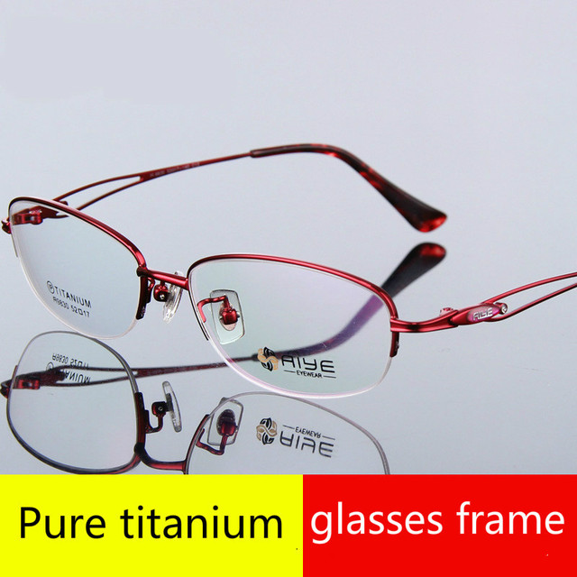 Ultra light pure titanium mulheres prescrição espetáculo quadro feminino miopia leitura eyewear armacao de oculos de grau de para mulher