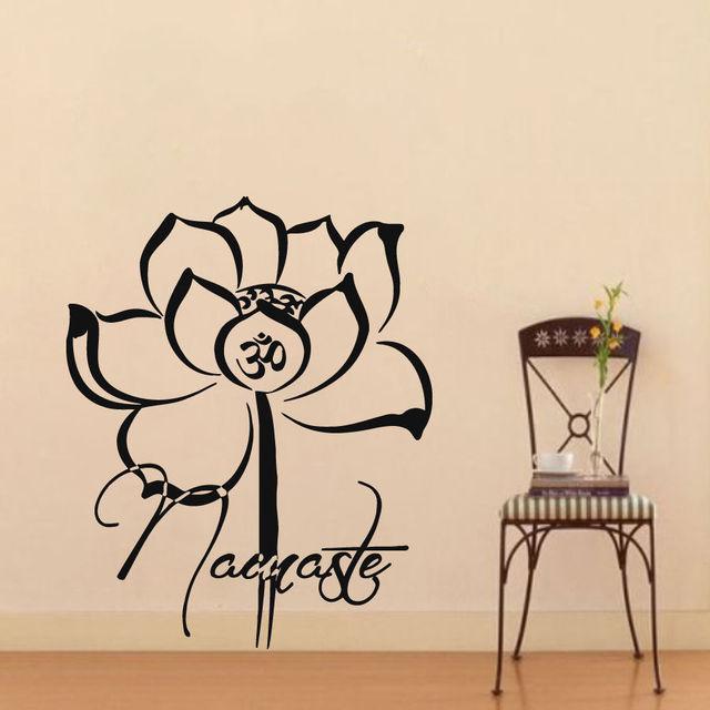 Lotus vinyl wall decal namaste lotus flower yoga studio mural art lotus vinyl wall decal namaste lotus flower yoga studio mural art wall sticker buddha yoga class mightylinksfo