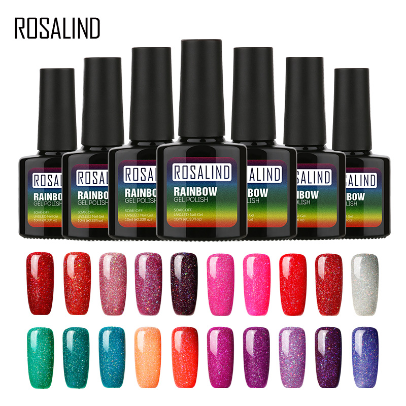ROSALIND Gel 1S Gel Varnish Rainbow Color Series UV Gel Nail Polish Set For Manicure Tops Base Soak Off Design Nail Art Primer