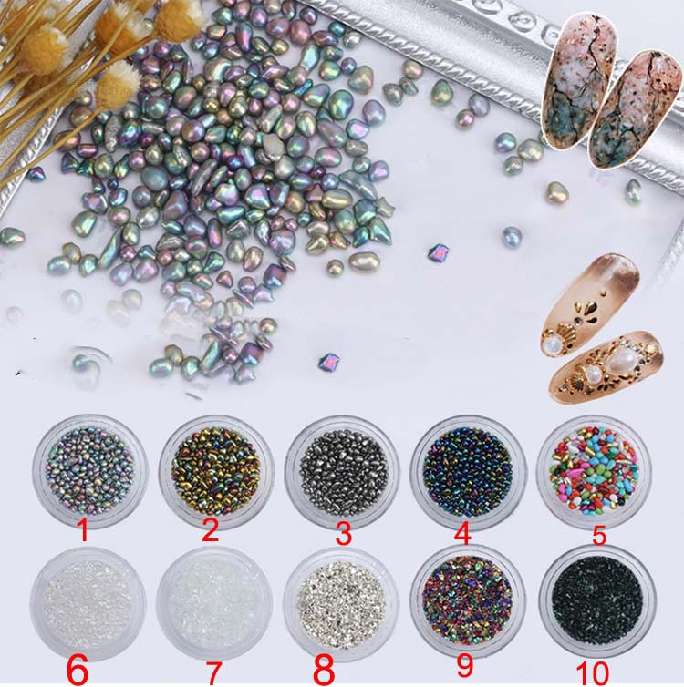 10 Colors Chameleon Irregular Beads 3D Nail Rhinestone Small Stone Manicure Nail Art Decoration Beads for Slime Free Shipping free shipping natural stone powder nail decoration nail art packed in a glass bottle 10ml pot it is made of natural stone