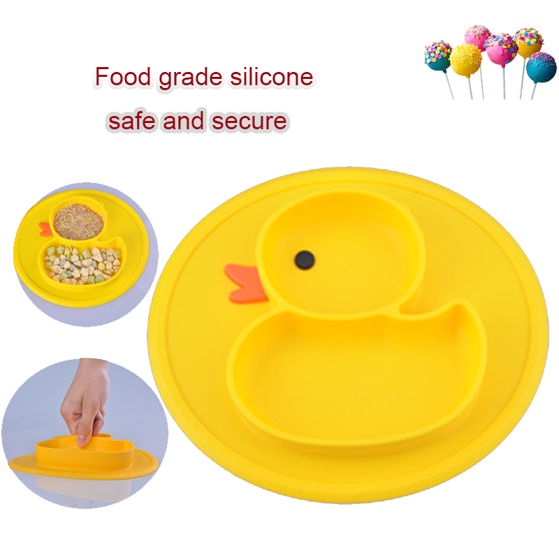 Fashion Baby Silicone Plate Solid Feeding Bowls Plates Suction Children Tableware Food Containers Anti Slip Kids Dishes Eating
