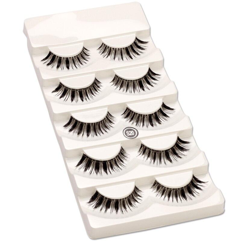 5 pairs Natural False Eyelashes Handmade Long Winged Makeup Eye Lashes Thick Make Up Eyelash Extension Wispy Fake Lashes