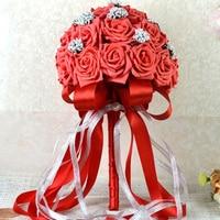 13.77 inç Romantik Pembe Gelin Nedime Yapay Tutma Çiçek Buketi Düğün Çiçekleri Gelin Buketleri Düğün Kızlar Için