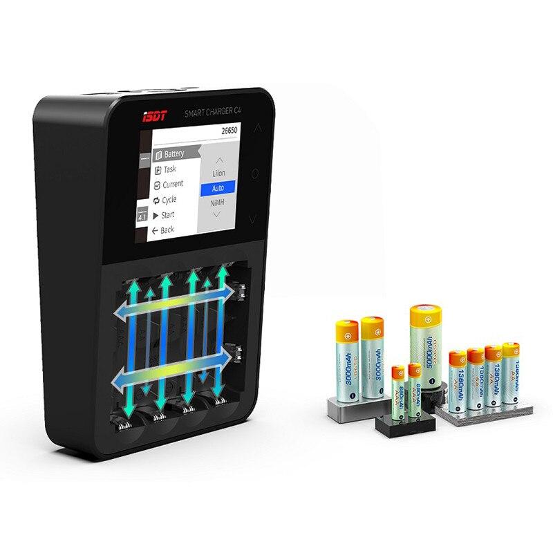 Original isdt C4 8A pantalla táctil inteligente cargador de batería con salida USB para 18650 26650 batería AA