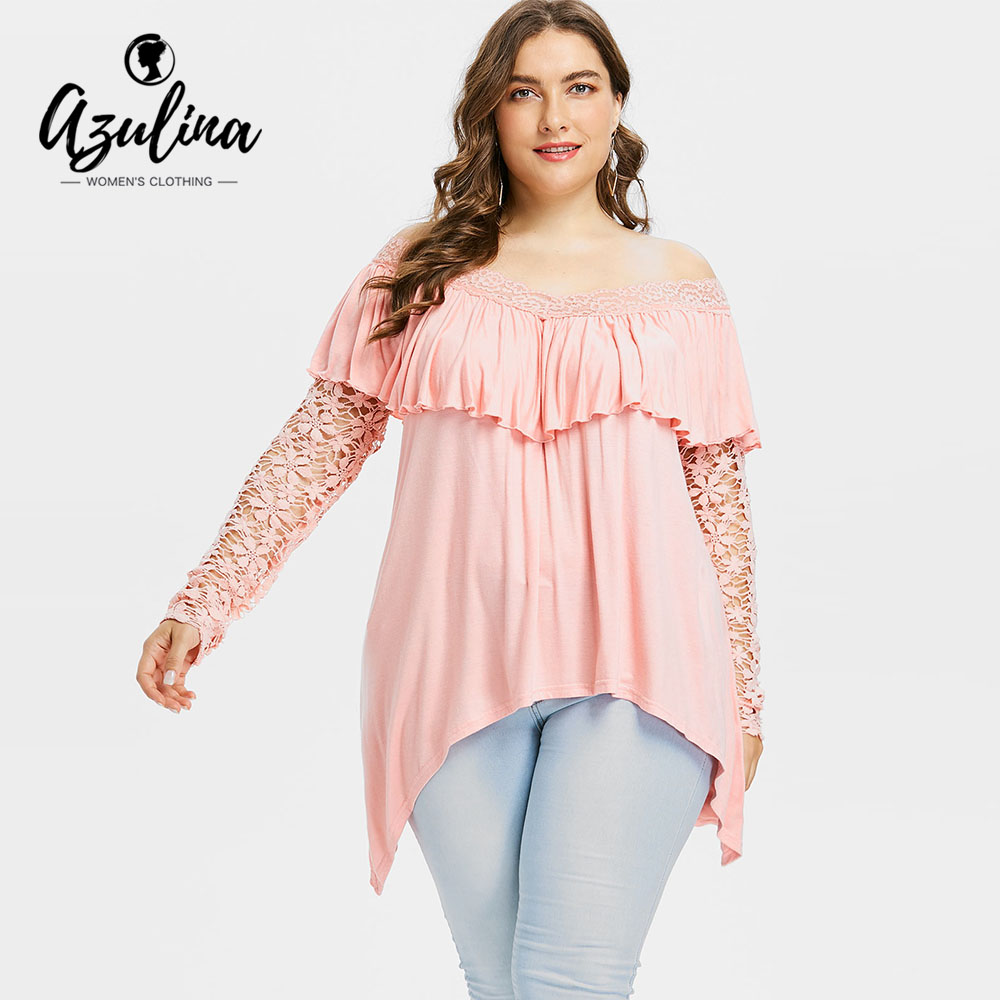 AZULINA Plus Size Lace Sleeve Ruffle Top Women T-Shirt Summer Autumn Off The Shoulder Lo ...