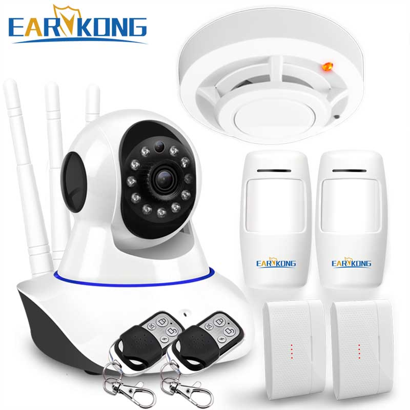 цена на WAN & Wifi Camera 720P , IP Camera Compatible with 433MHz Detector, Wifi System alarm, door open sensor, motion sensor alarm