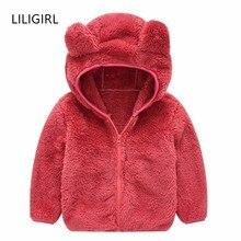 LILIGIRL/шерстяное пальто для девочек, детская одежда новая зимняя куртка с меховым капюшоном для мальчиков однотонные куртки с ушками для маленьких детей, верхняя одежда