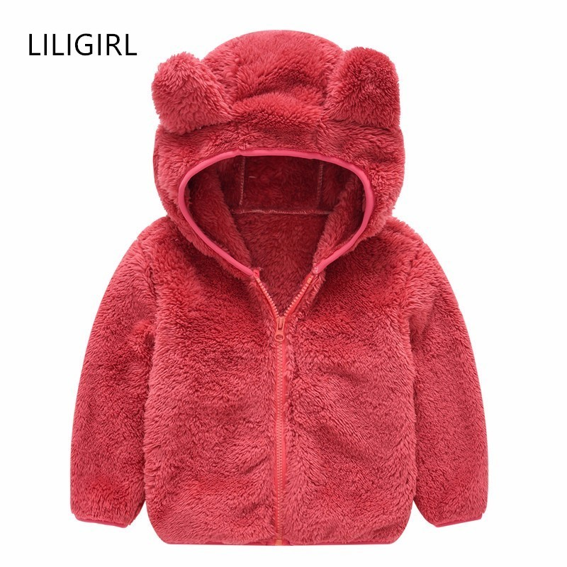 LILIGIRL Girls Wool Coat For Children's Clothes New Winter Boys Fur Hoodie Jacket Solid Color Baby Kids Ear Jackets Outwear