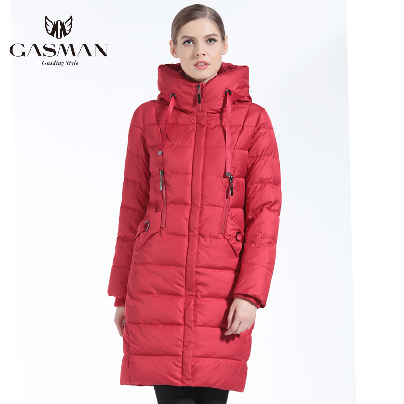 GASMAN 2018 Winter Women Bio Down Jacket Brand Long Winter Coat Women Hooded Down   Parka   Fashion Jacket New Winter Collection
