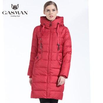 8c0b7cdd6cf25 GASMAN 2019 Kış Kadın Bio Aşağı Ceket Marka Uzun Kış Ceket Kadın Kapşonlu  Aşağı Parka Moda Ceket Yeni Kış Koleksiyonu