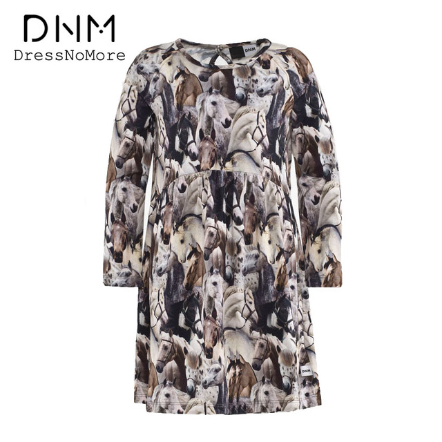 DressNoMore New 2017 Girls Dress Spring Summer Dress Horse Print Long Sleeve Kids Dresses For Teenage Girls Party Tutu Dress