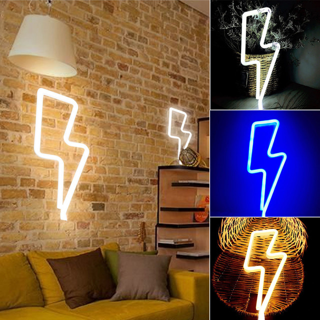 Thunder Shape Wall Light Hanging Lights Lightning USB LED Lamp For ...