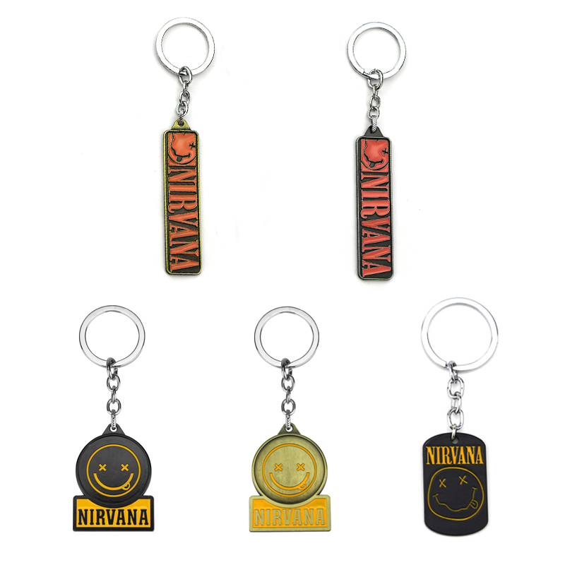 New Fashion Black Rock Unplug Music Band Nirvana Pendant Keychains For Fans Souvenir Gift Key Ring Chain Porte Clef Llavero
