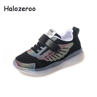 Spring Children Sport Glowing Sneakers Kid Mesh Casual Shoes Boy Black Shoes Baby Girl LED Sneakers Toddler Lighted Soft Trainer