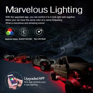 Image 2 - MICTUNING Kit de lampes néon multicolores pour voiture, 4 dosettes, RGB LED, décoration Rock, avec application Bluetooth, synchronisation, fonction musicale