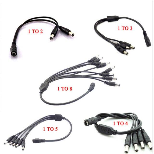 12v dc plugue divisor de alimentação 1 fêmea para 2 3 4 5 6 8 macho cctv cabo câmera cctv cabo acessórios adaptador de alimentação 2.1*5.5mm