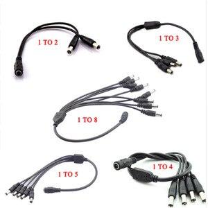 Image 1 - Séparateur dalimentation 12V DC, connecteur 1 femelle vers 2 3 4 5 6 8 mâle câble de caméra CCTV, accessoires dalimentation, adaptateur dalimentation 2.1x5.5mm