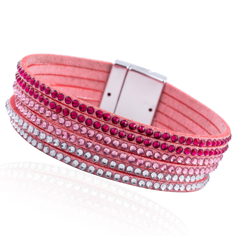 WNGMNGL 2018 Fashion Luxurious Crystal Leather Magnet buckle Bracelet Punk Multilayer Bracelets Bangles For Women Jewelry Gift in Wrap Bracelets from Jewelry Accessories