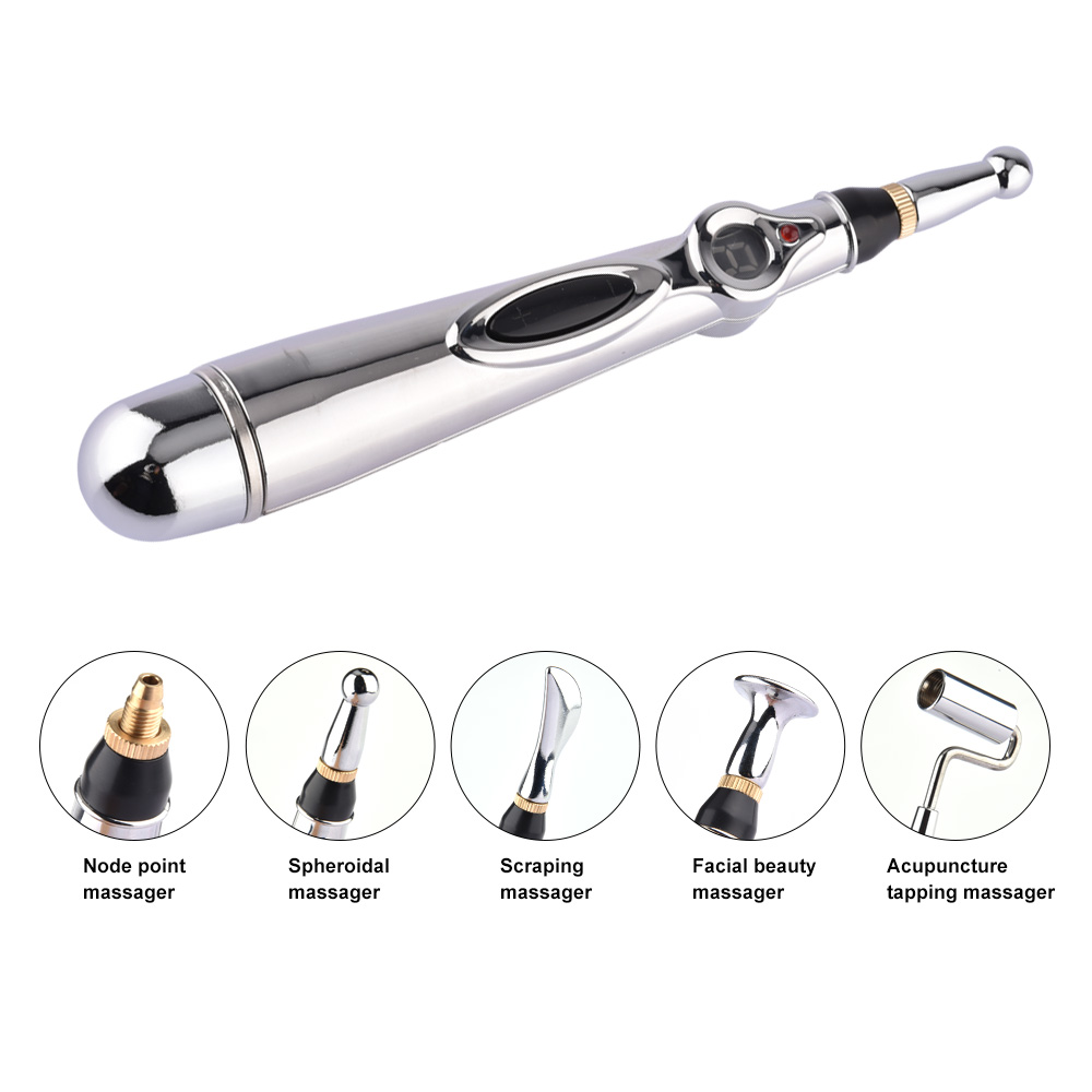 2018 Hottest 5 Massage Heads Meridian Energy Pen Pain Relief Electric Acupuncture Magnet Therapy Pen 9 Gears Body Massage