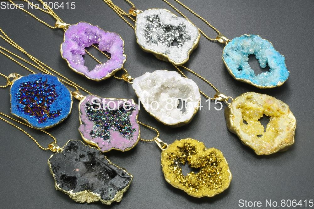 3 Colorful Green Agate Geode Druzy Pendants
