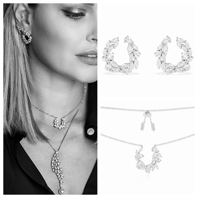 Fashion Olive Leaf Peace 925 Sterling Silver Wedding Collar Necklace Stud Earring Jewelry Set Women Wedding AP Hope Jewelry Set