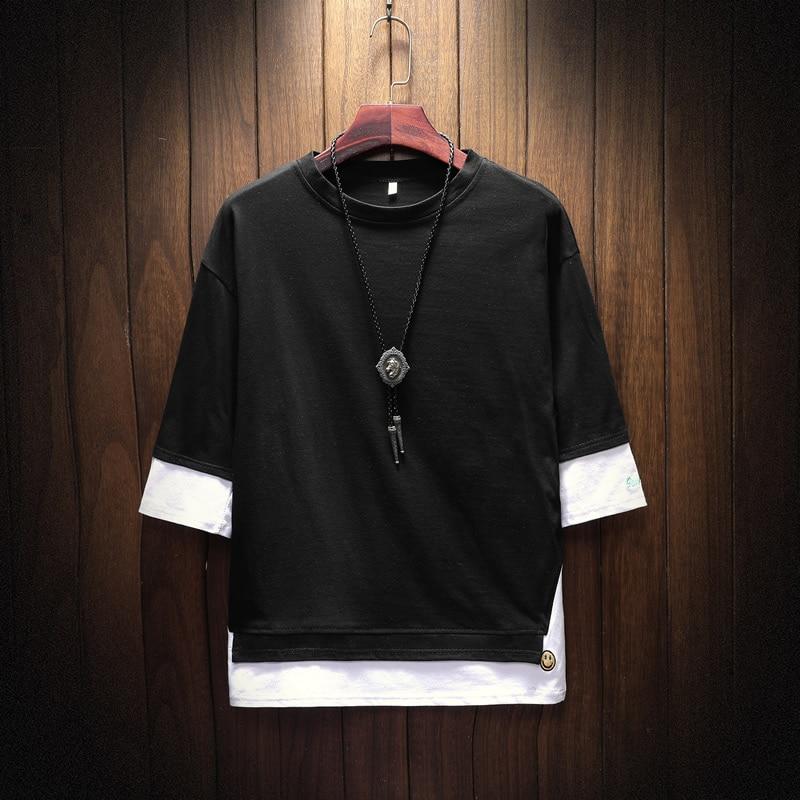 Men's Short Sleeve T-shirt 5-5 Sleeve Summer Korean Fashion Hip-hop Fake Two Loose Chao Brand 7-Sleeve Half Sleeve male MP191 6