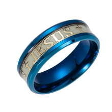 Stainless Steel Luminous Cross Ring