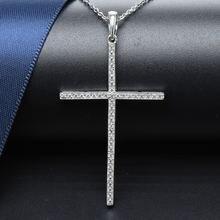 Женский кулон крест из серебра 925 пробы с фианитом