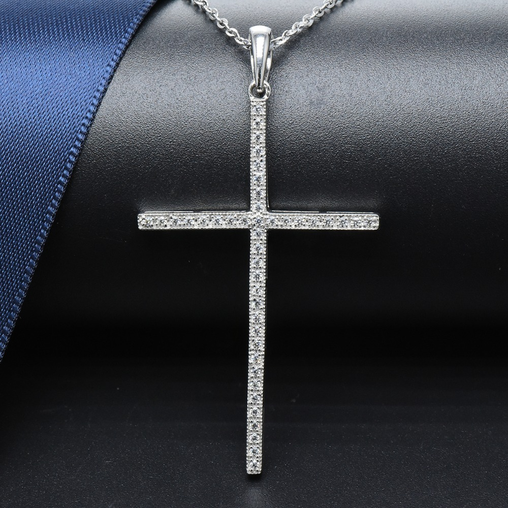Hutang Cross Pendant Genuine 925 Sterling Silver Cubic Zirconia Necklace Fine Jewelry For Women Classic Accessories