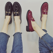 Spring Autumn 2019 Shoes Woman Pumps Patent Leather Elegant Square Heel Slip-on Footwear Women Shoes Pointed Toe Thick Heels 2017 mary janes women pumps fashion patent leather slip on casual women shoes spring autumn flower toe part square heel med heel