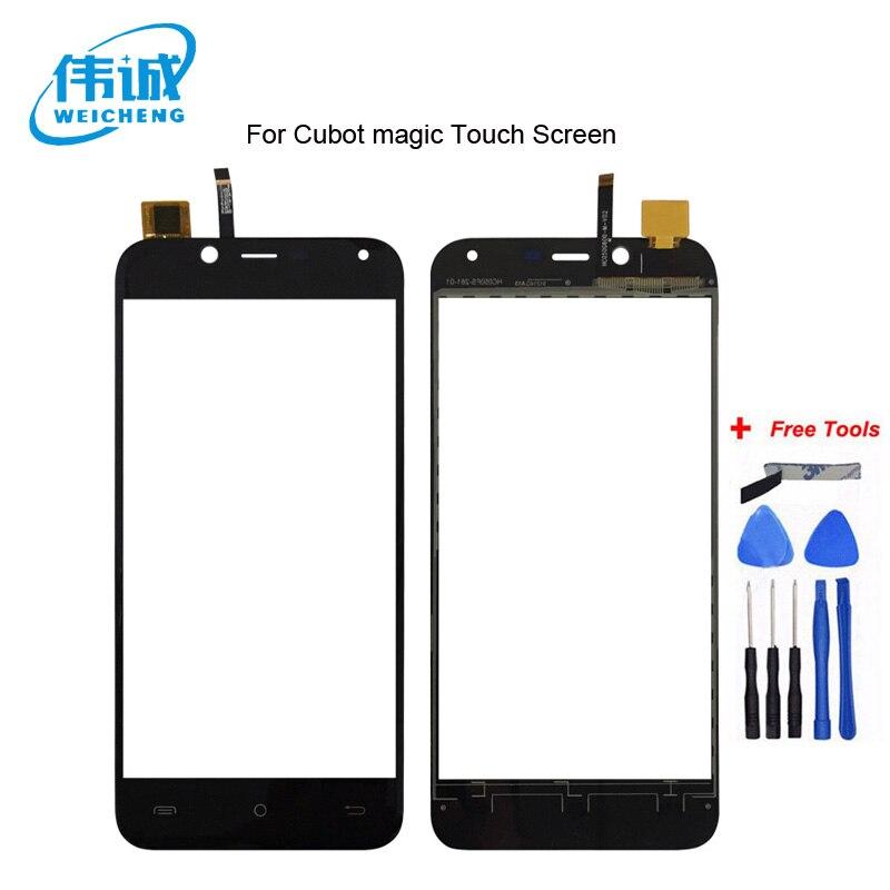 WEICHENG 100% נבדק 5.0 inch נייד טלפון קדמי זכוכית עבור Cubot קסם מגע Sreen Digitizer פנל עם קלטת החלפה