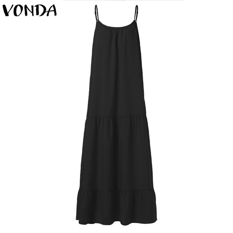VONDA Bohemian Dress Women 19 Summer Sexy Sleeveless Spaghetti Strap Ruffle Swings Maxi Long Dresses Holiday Vestido Plus Size 16