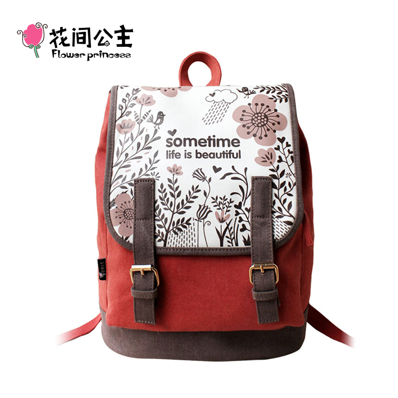 Flower Princess Women's Canvas Backpacks Bag for High School Teenagers Girls Vintage Preppy Double Shoulder Bag mochila feminina emoji black 3d printing 2017 high quality women canvas backpacks smiley school bag for teenagers girls shoulder bag mochila