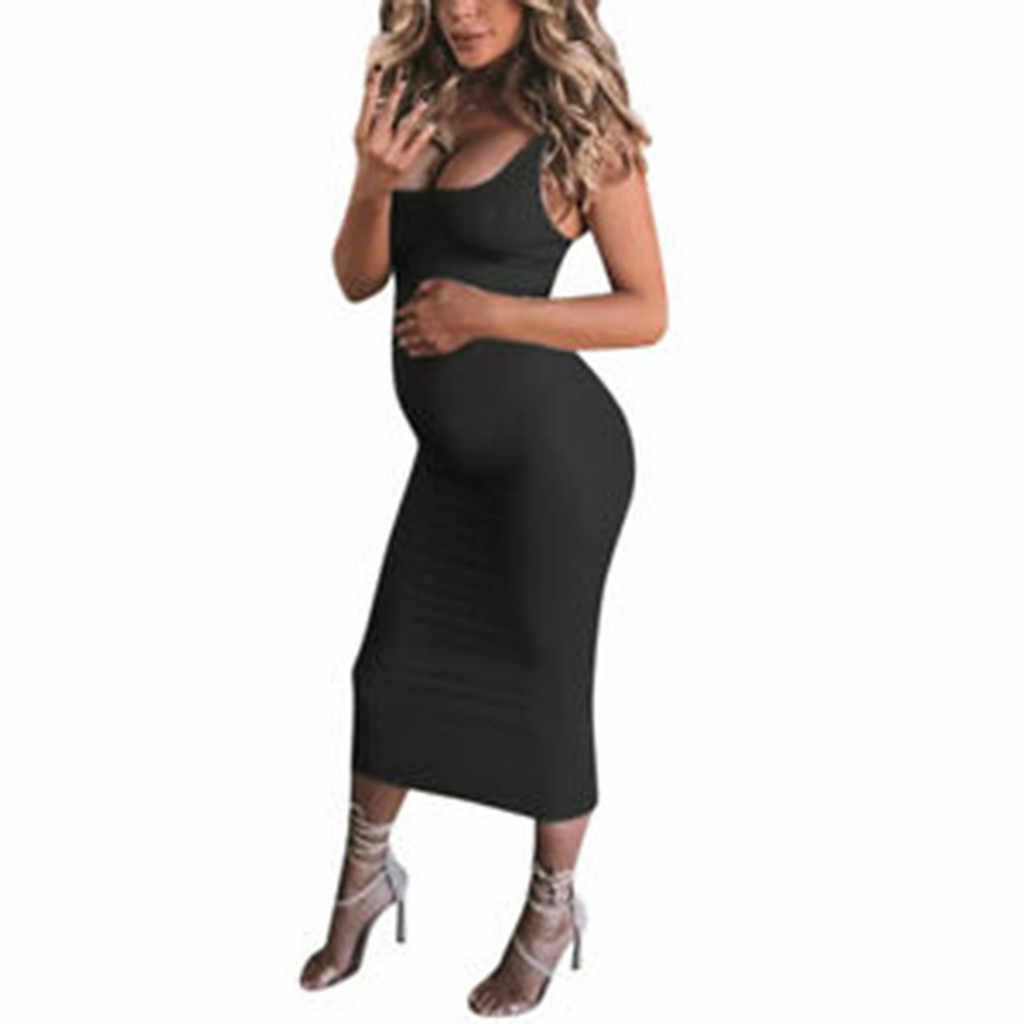 e058d961848d7 2019 Summer pregnancy dress Women's Maternity Fashion Women dresses plus  size Sexy Solid Round Neck Sleeveless Long Dress