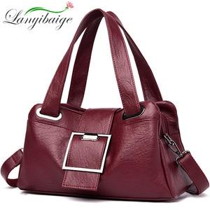 Image 1 - 女性革ハンドバッグヴィンテージソフトレザー女性クロスボディショルダーバッグデザイナーブランドレディース高容量トップハンドルバッグ