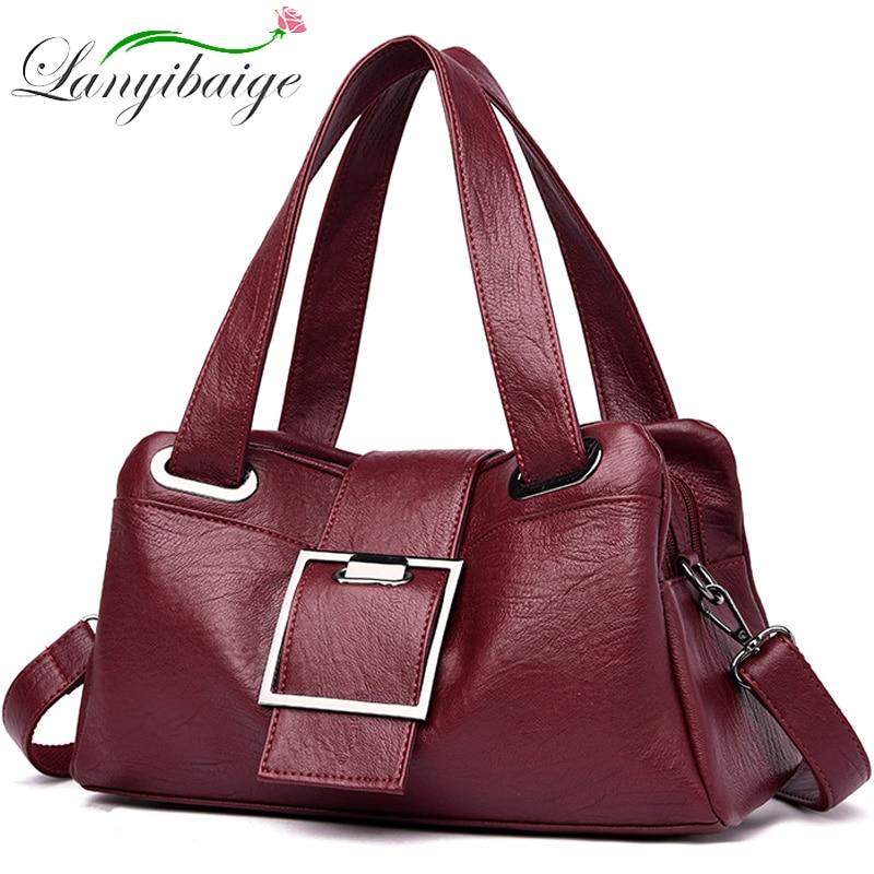 Women Leather Handbags Vintage Soft Leather Female Crossbody Shoulder Bags Designer Brand Ladies High Capacity Top-Handle Bags