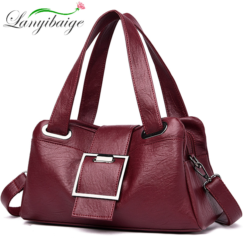 Women Leather Handbags Vintage Soft Leather Female Crossbody Shoulder Bags Designer Brand Ladies High Capacity Top-Handle Bags