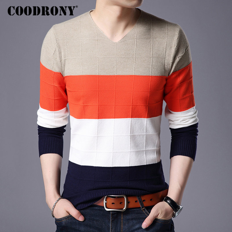COODRONY Sweater Men Clothes 2018 Winter Thick Warm Mens Sweaters Cashmere Wool Pullover Men Casual V-Neck Pull Homme Jumper 259
