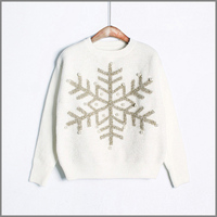 Pearl Snowflake Sweater Christmas Women Pullover Jumper Women Sweaters And Pullovers Sequin Kerst Ugly Sweater Christmas